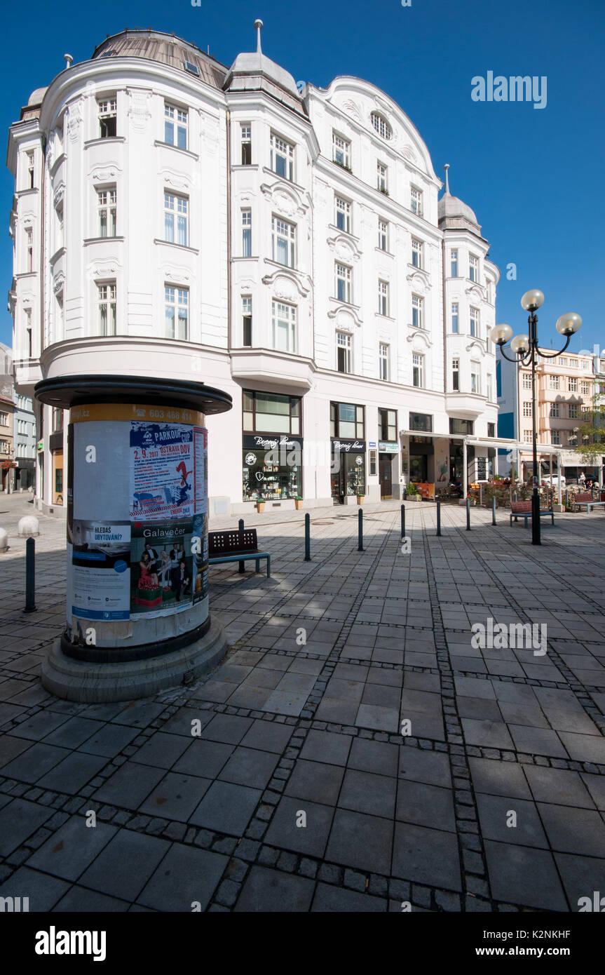 View of secession building on Jiraskovo Namesti, Jirasek Square, Ostrava, Silesia, Czech Republic - Stock Image