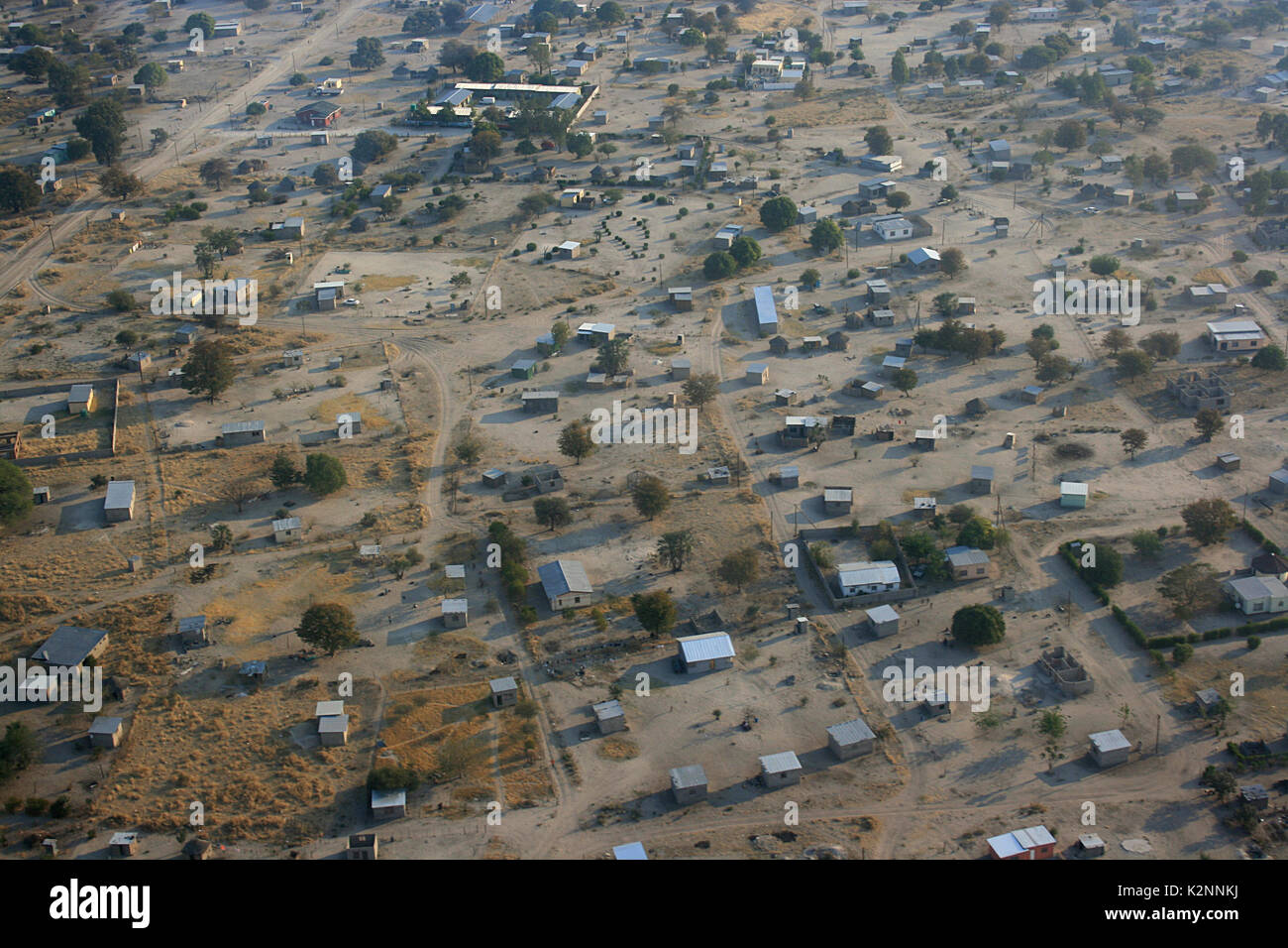 Aerial view of tin shacks in the city of Maun, on the edge of the Okavango Delta in Botswana - Stock Image