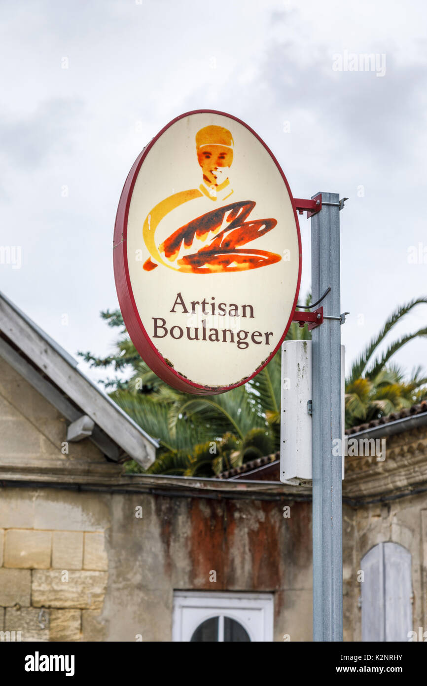Artisan baker (boulanger) sign at Pauillac, a municipality in the Gironde department in Nouvelle-Aquitaine in southwestern France - Stock Image
