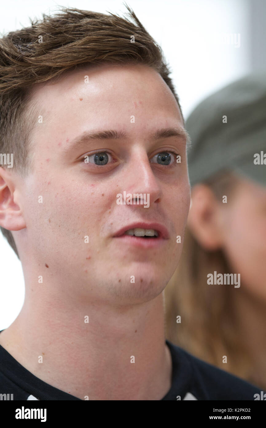 London, UK. 31st Aug, 2017. Matt Ginno joined London's top young buskers who took part in a boot camp with music industry experts at the Umbrella Rooms music studios in the heart of the West End before going head-to-head at the Gigs Grand Final at Westfield this Sunday. Twelve competitors have made it through to the Grand Final, where they will battle it out for the title of Gigs Champion 2017 and a range of top prizes including a London Underground busking licence, studio time and busking equipment and a busking trip to Paris Credit: Keith Larby/Alamy Live News Stock Photo