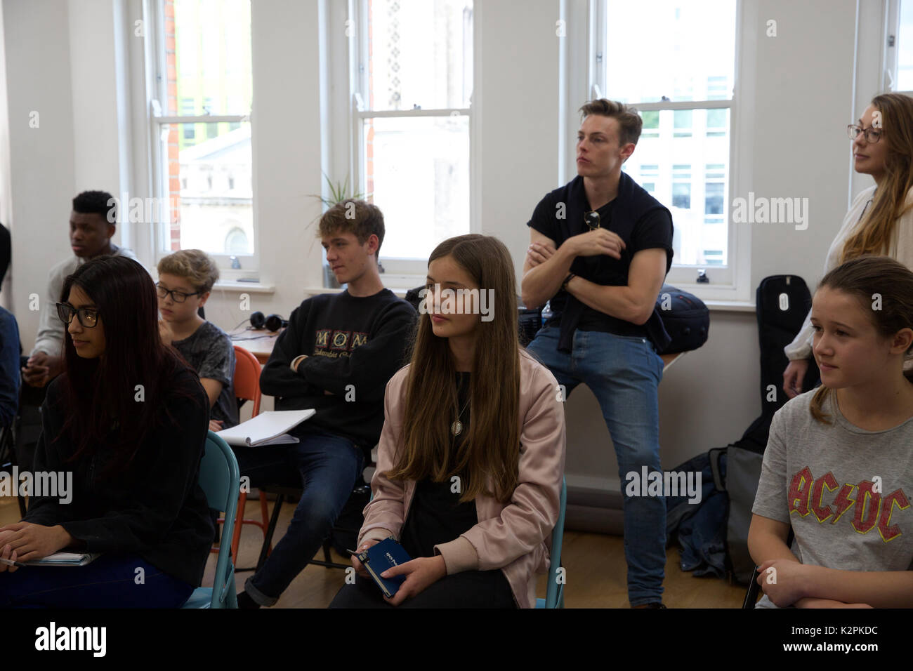 London, UK. 31st Aug, 2017. London's top young buskers took part in a boot camp with music industry experts at the Stock Photo