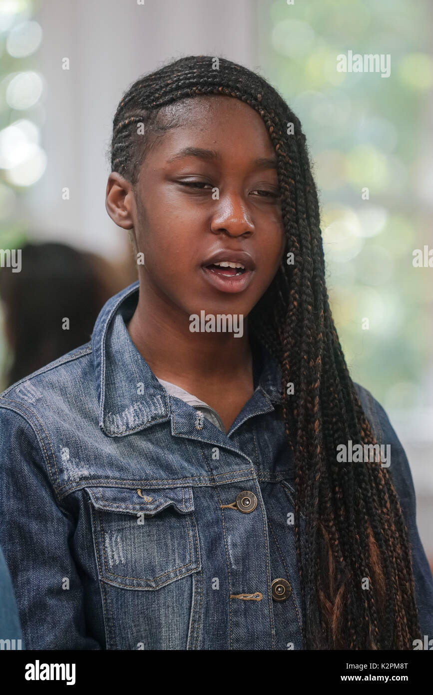 Shaftesbury Ave, London, England, UK. 31st Aug, 2017. Lois Donna – Waltham Forest, preparing for Mayor's Gigs competition at the Umbrella Rooms music studios before going head-to-head at the Gigs Grand Final over the weekend. Credit: See Li/Alamy Live News Stock Photo