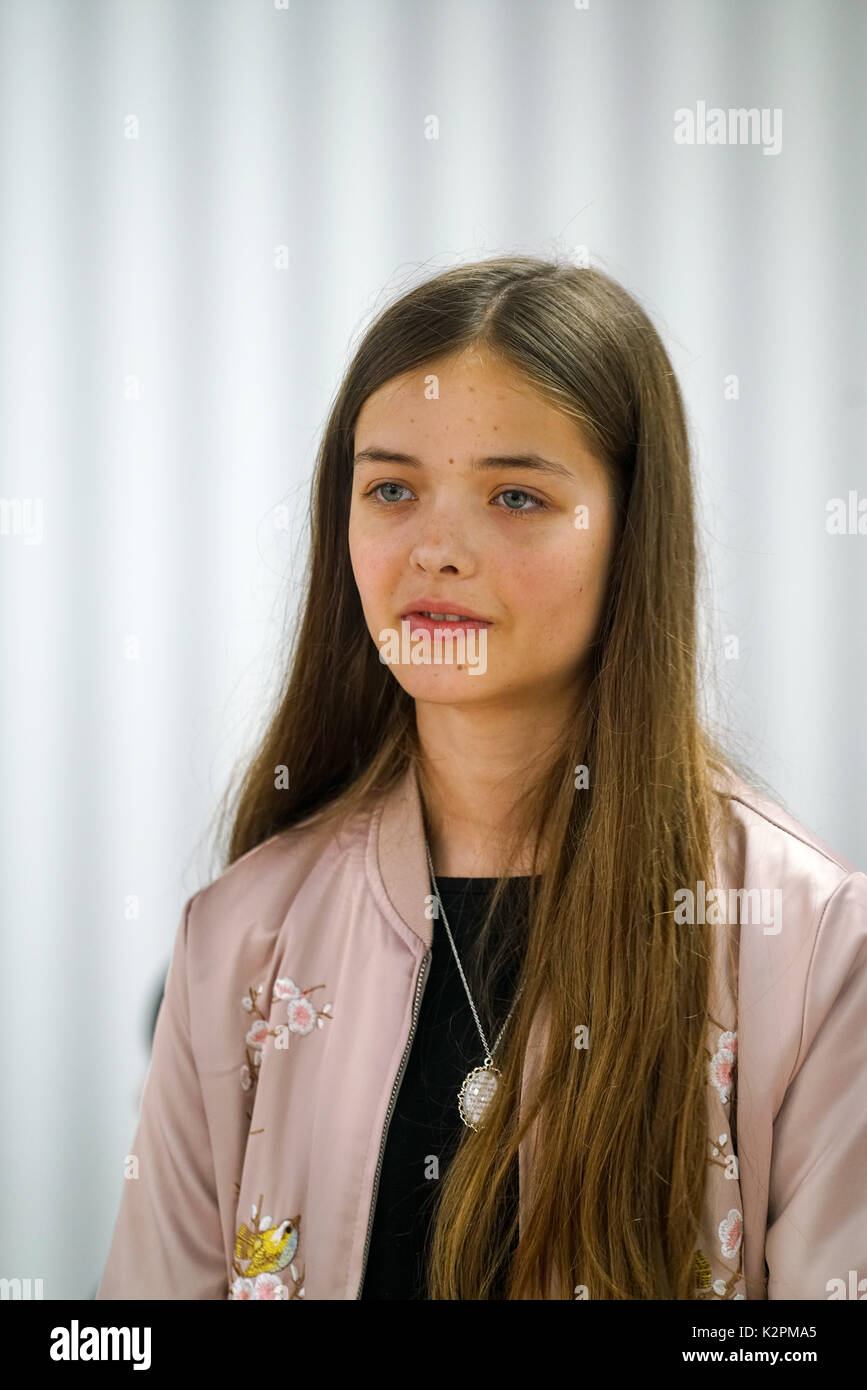 Shaftesbury Ave, London, England, UK. 31st Aug, 2017. Josephine Shaw, preparing for Mayor's Gigs competition at the Umbrella Rooms music studios before going head-to-head at the Gigs Grand Final over the weekend. Credit: See Li/Alamy Live News Stock Photo