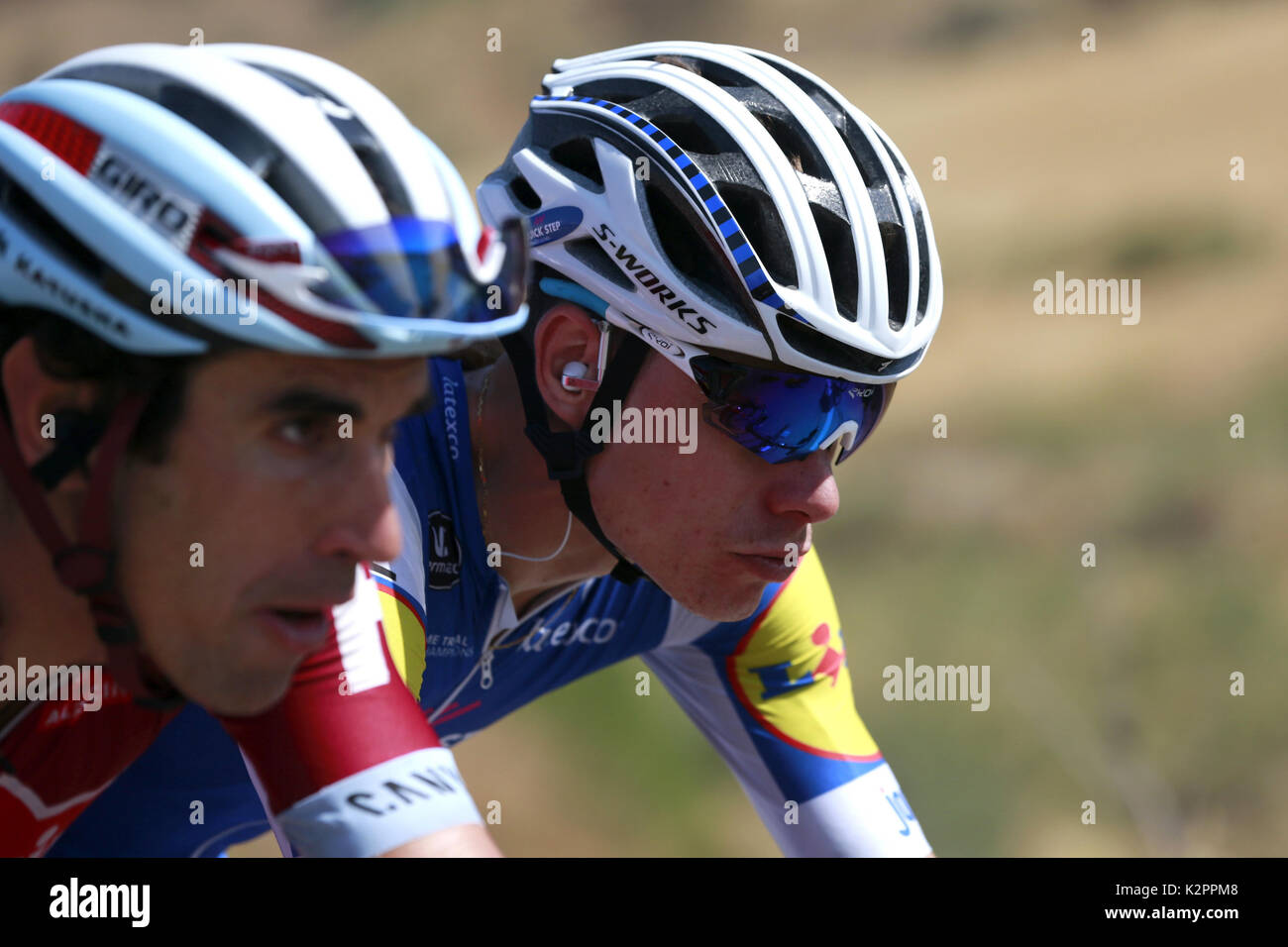 Catalan cyclists Alberto Losada and David de la Cruz (R) in action during the 12th stage of the Vuelta a Espana cycling race over 160.1km between Motril and Antequera Los Dolmenes, Spain, 31 August 2017. EFE/JAVIER LIZON - Stock Image