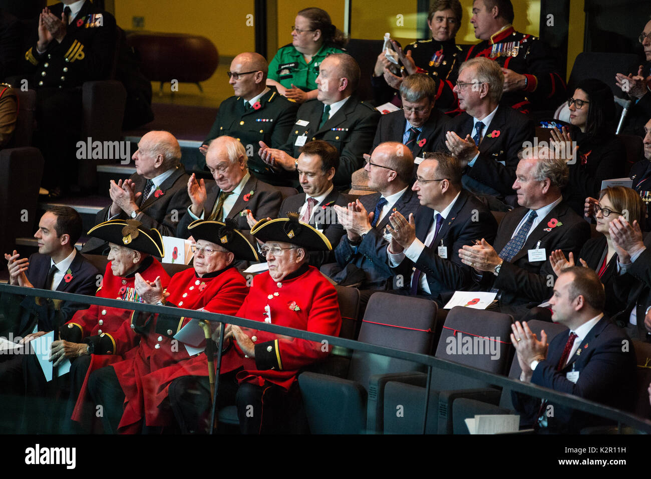 London, UK. 10th Nov, 2017. Chelsea Pensioners at the Annual Service of Remembrance at City Hall, which was attended by Mayor of London Sadiq Khan, Jennette Arnold OBE AM, Chair of the London Assembly, Members of Parliament, London Assembly Members, Greater London Authority staff, representatives from London Government and public service organisations, and members of the Armed Forces, to commemorate those who served and lost their lives in the two world wars and other conflicts. Credit: Mark Kerrison/Alamy Live News - Stock Image