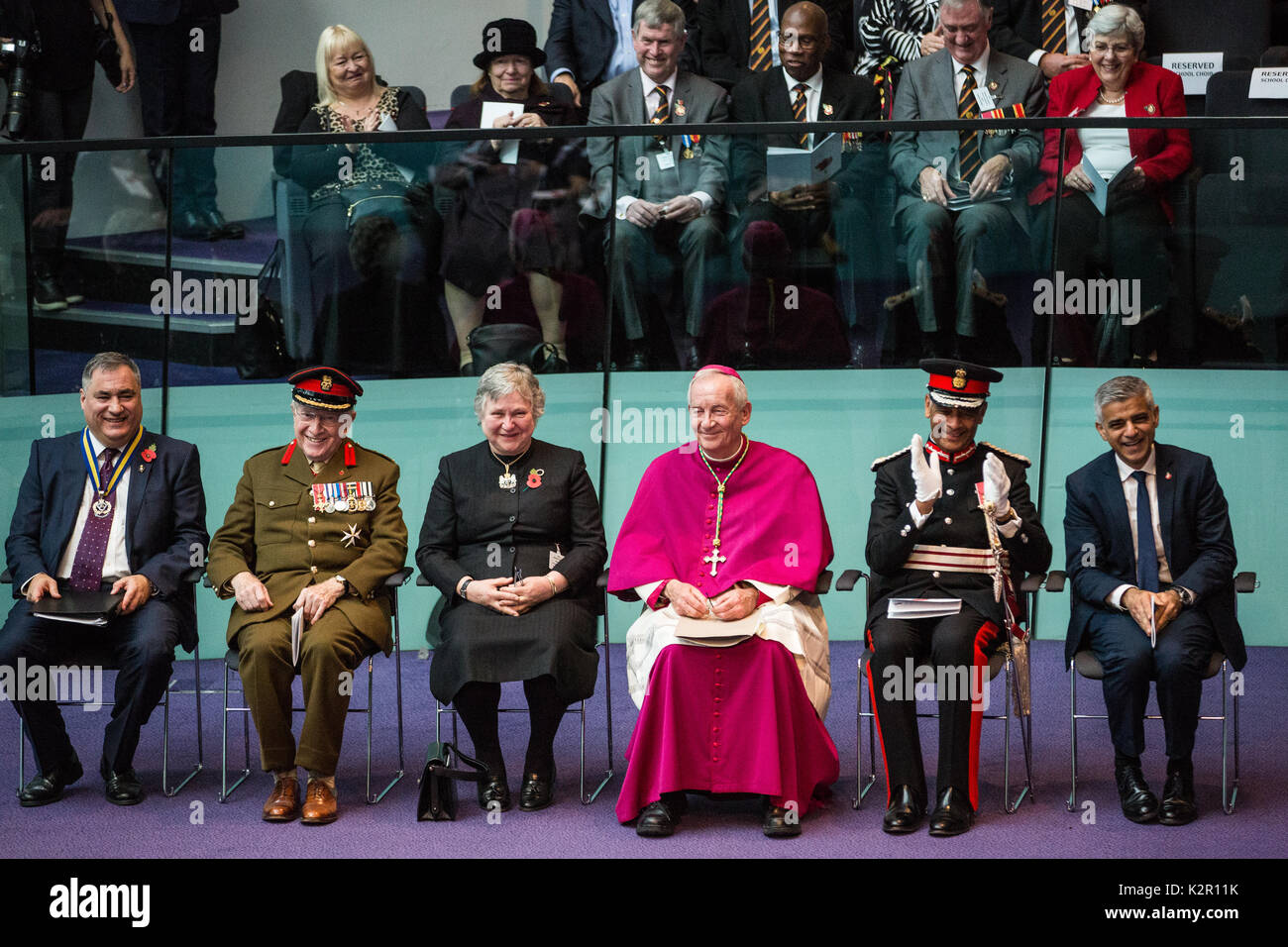 London, UK. 10th Nov, 2017. The Annual Service of Remembrance at City Hall was attended by Mayor of London Sadiq Khan with Jennette Arnold OBE AM, Chair of the London Assembly, Members of Parliament, London Assembly Members, Greater London Authority staff, representatives from London Government and public service organisations, and members of the Armed Forces, to commemorate those who served and lost their lives in the two world wars and other conflicts. Credit: Mark Kerrison/Alamy Live News - Stock Image