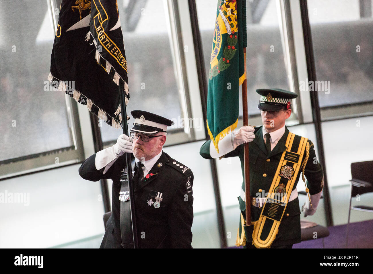 London, UK. 10th Nov, 2017. Standard bearers leave the Annual Service of Remembrance at City Hall, which was attended by Mayor of London Sadiq Khan with Jennette Arnold OBE AM, Chair of the London Assembly, Members of Parliament, London Assembly Members, Greater London Authority staff, representatives from London Government and public service organisations, and members of the Armed Forces, to commemorate those who served and lost their lives in the two world wars and other conflicts. Credit: Mark Kerrison/Alamy Live News - Stock Image
