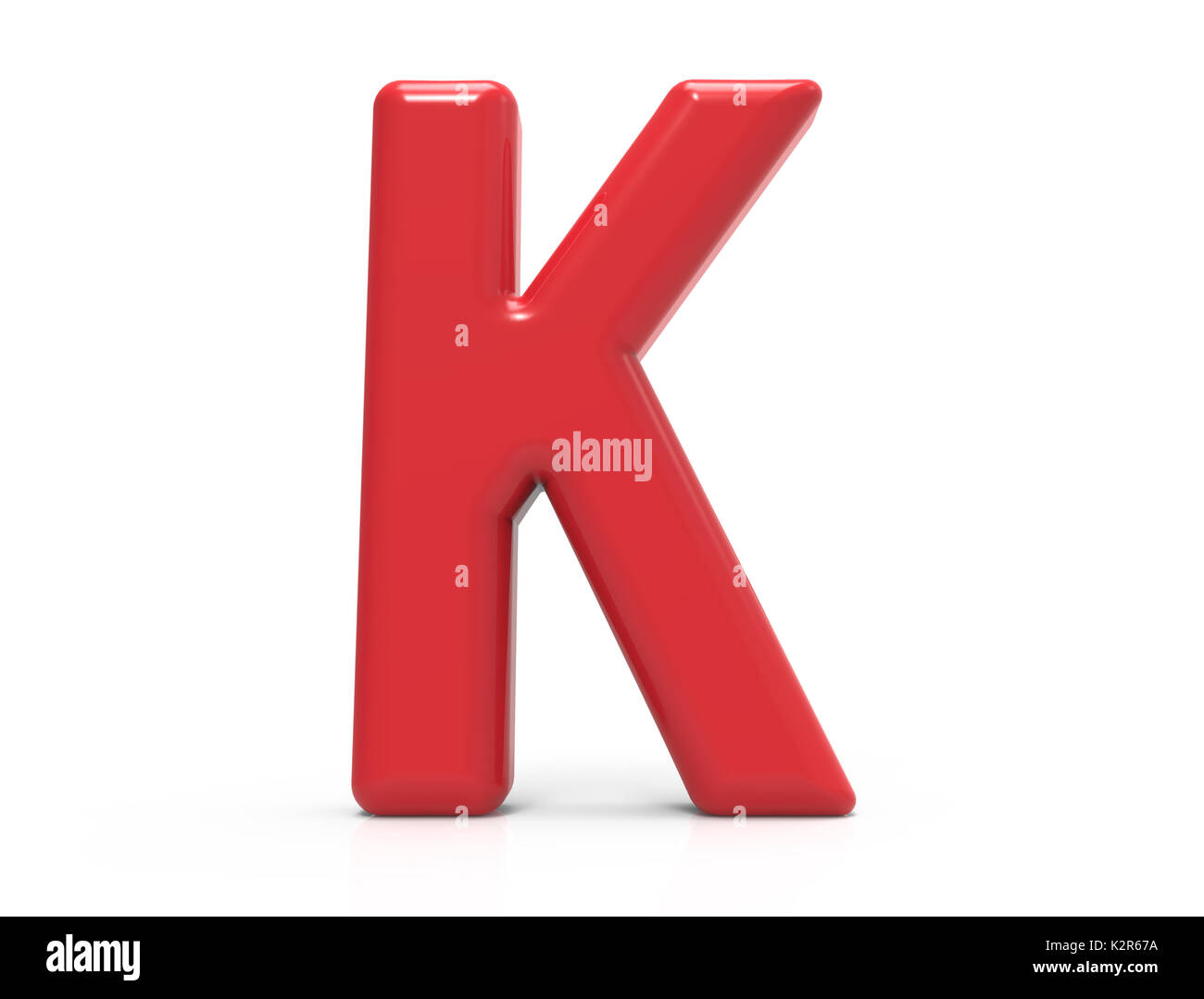 Red Letter K 3D Rendering Plastic Texture Symbol Isolated On White Background Crimson Color