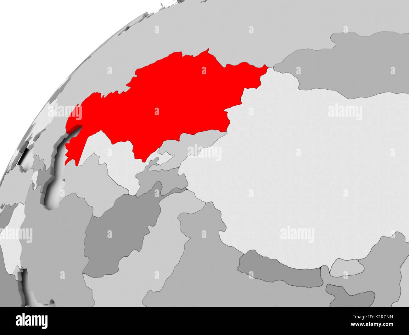 Map of Kazakhstan in red on grey political globe. 3D illustration ...
