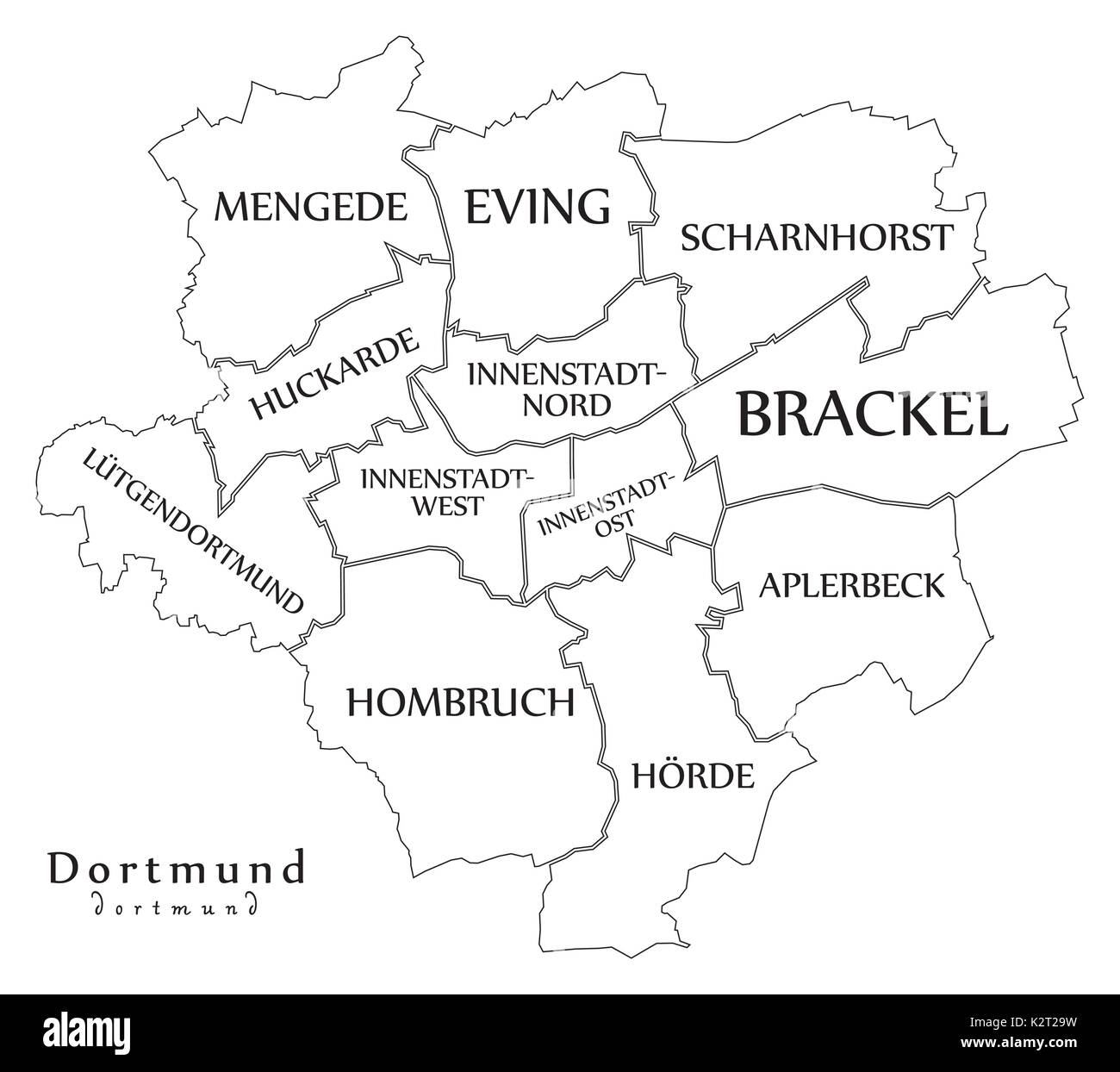 Dortmund On Map Of Germany.Modern City Map Dortmund City Of Germany With Boroughs And Titles