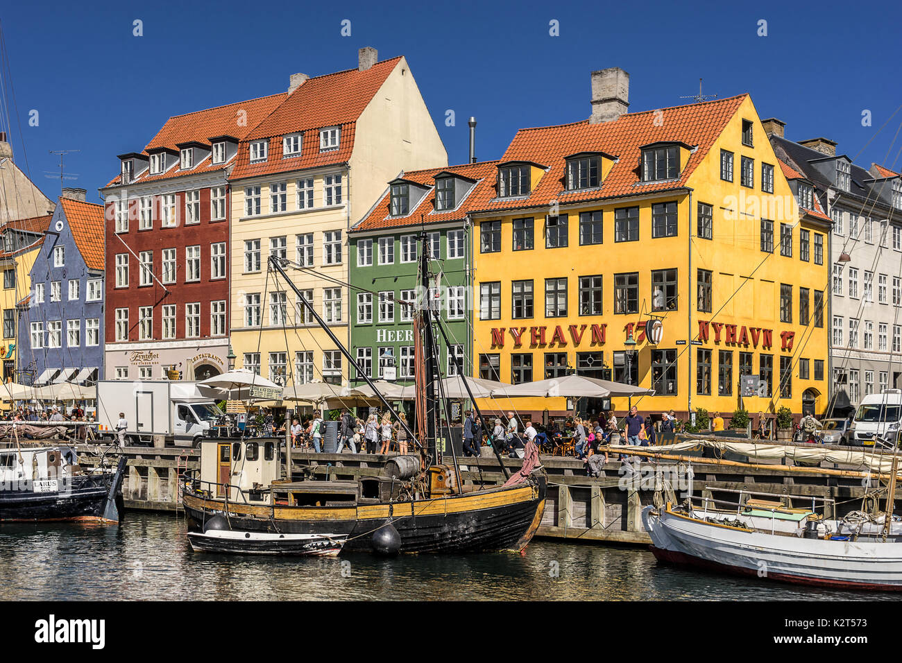 Nyhavn inner harbour in Copenhagen - Stock Image