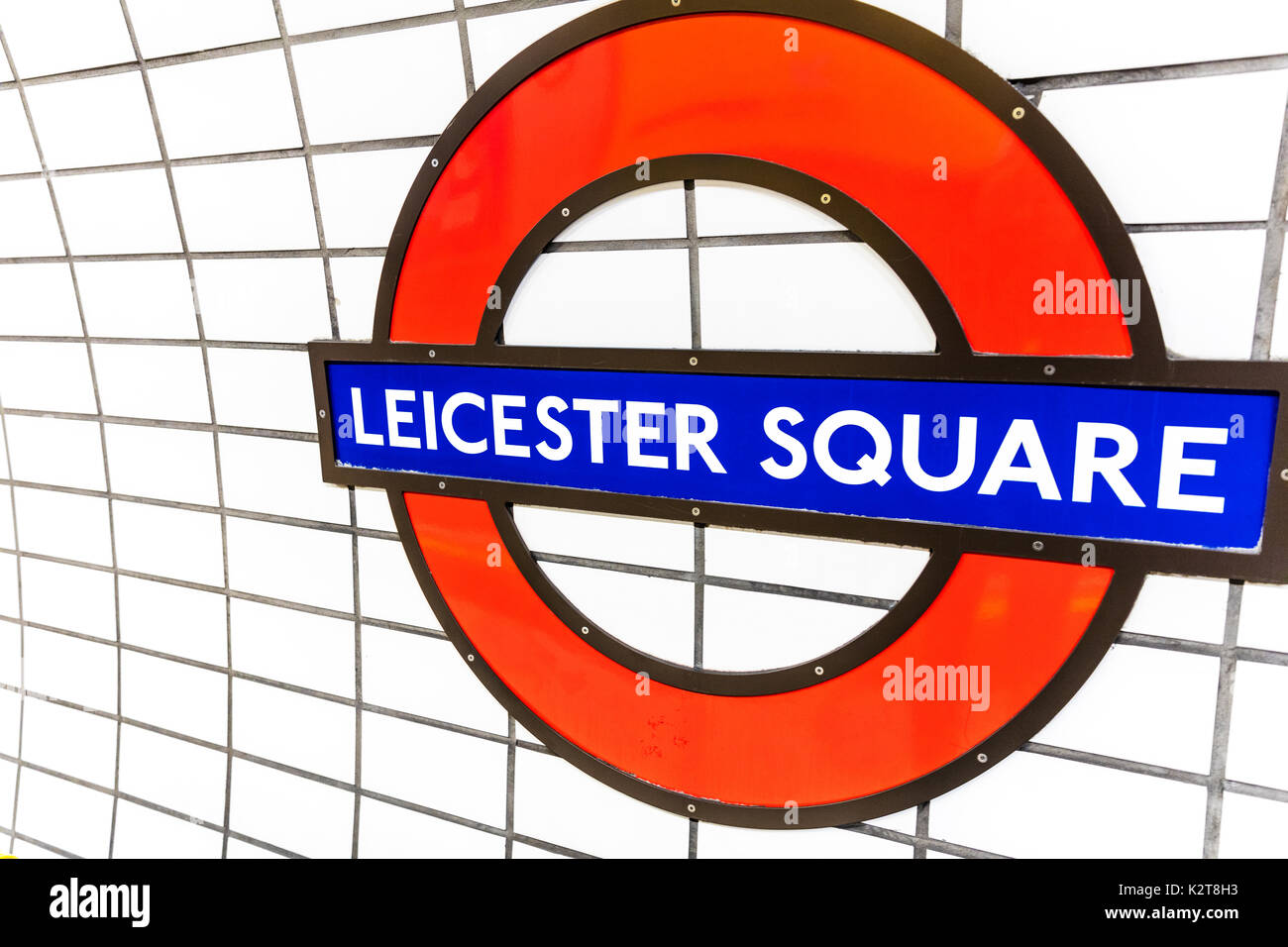 London Underground sign, London Underground Leicester Square sign, Leicester Square underground station sign, Leicester Square underground station - Stock Image