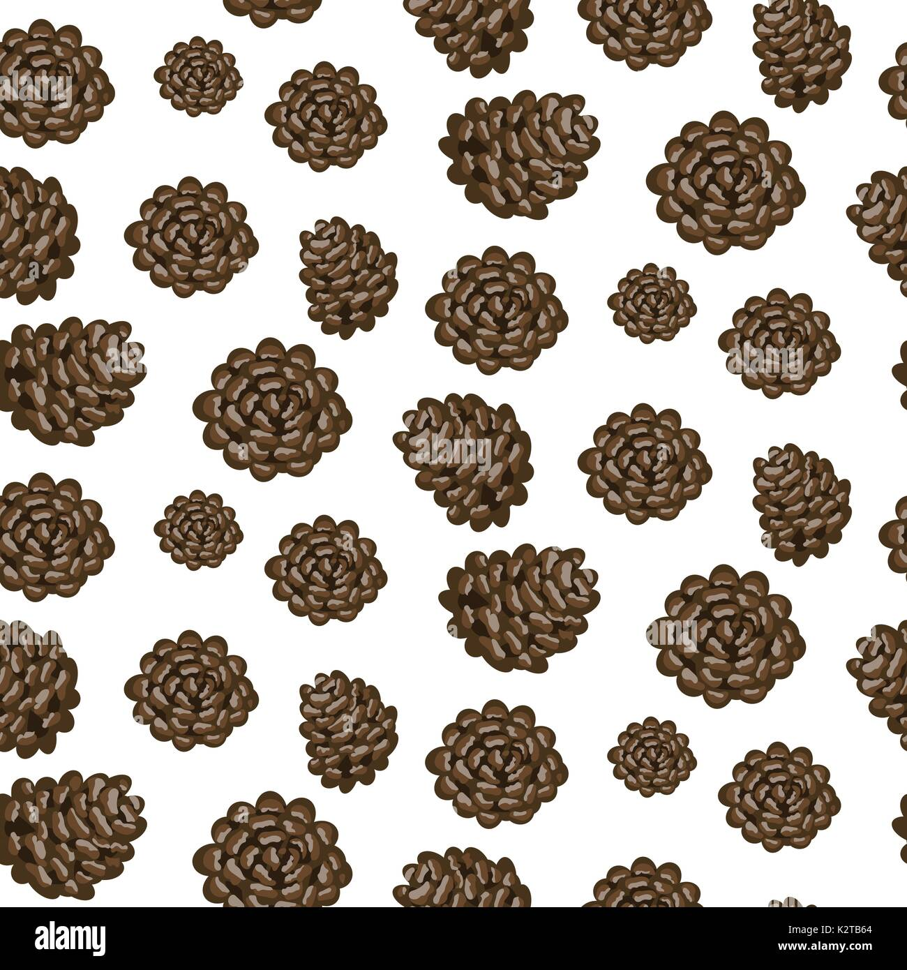 Fir cones seamless vector white background pattern. - Stock Vector