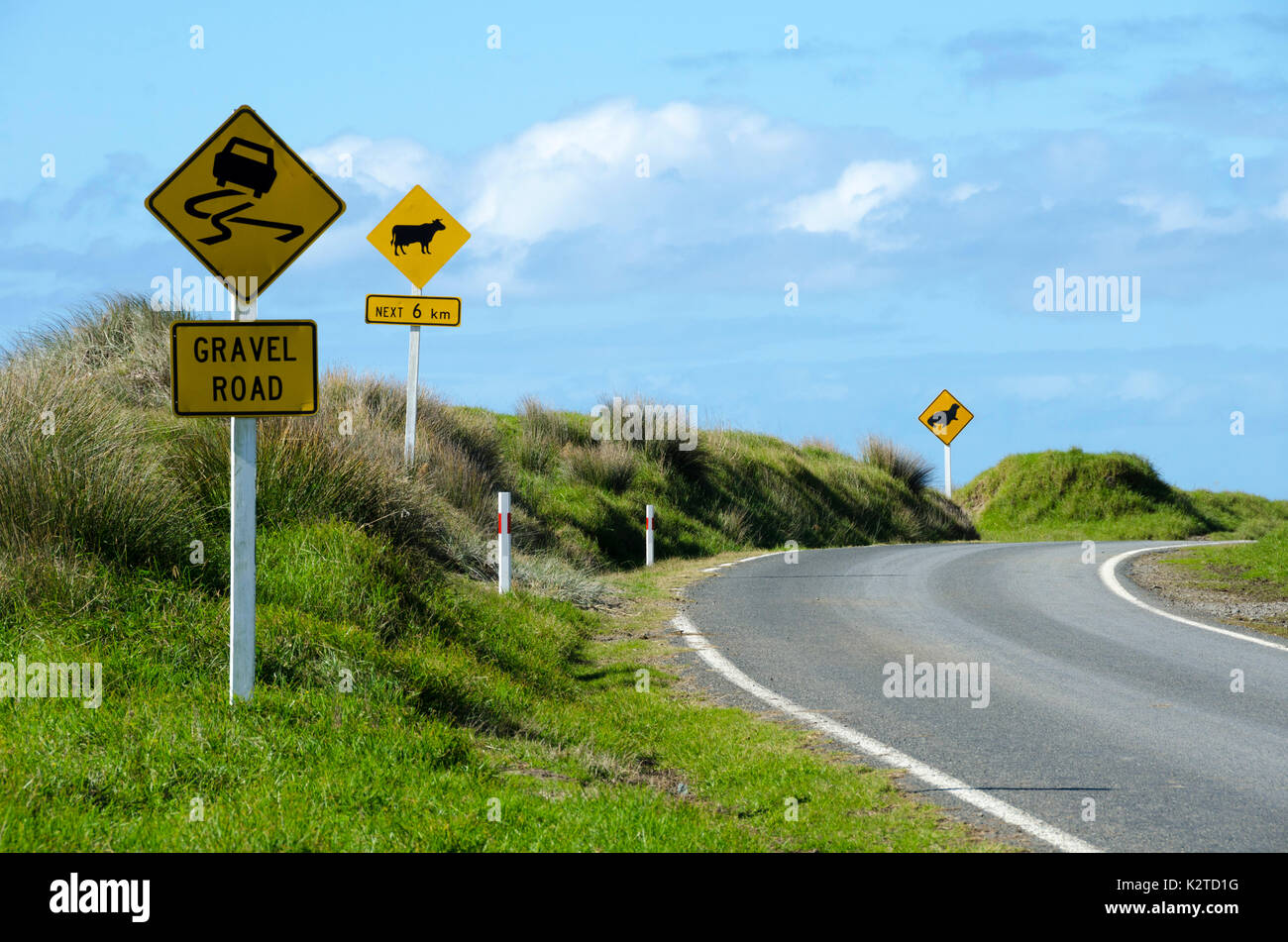 Road signs, East Cape Road, North Island, New Zealand - Stock Image