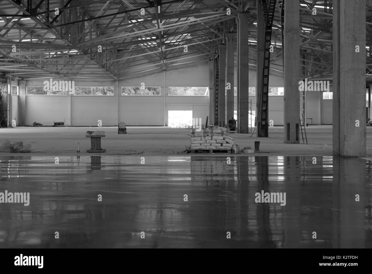 industrial premises in the construction process without people, in black and white - Stock Image