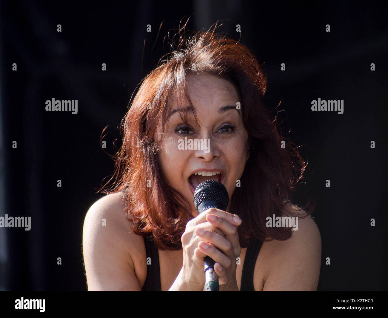 Sonya Madan of indie band Echobelly performs at the Victorious Festival in Portsmouth Stock Photo