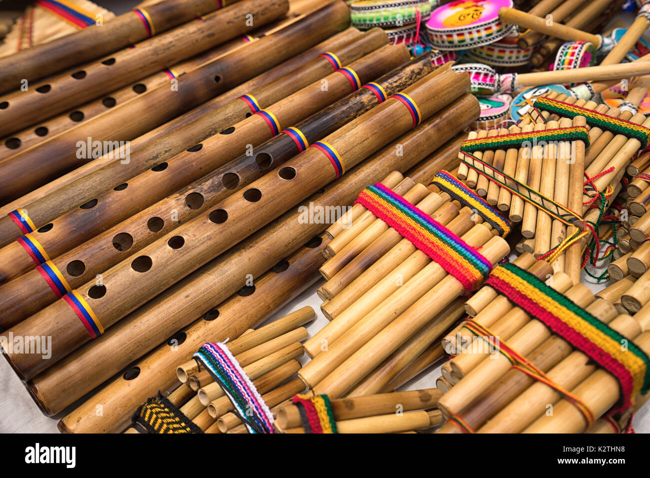 panflute closeup in the indigenous artisan market in Otavalo Ecuador - Stock Image
