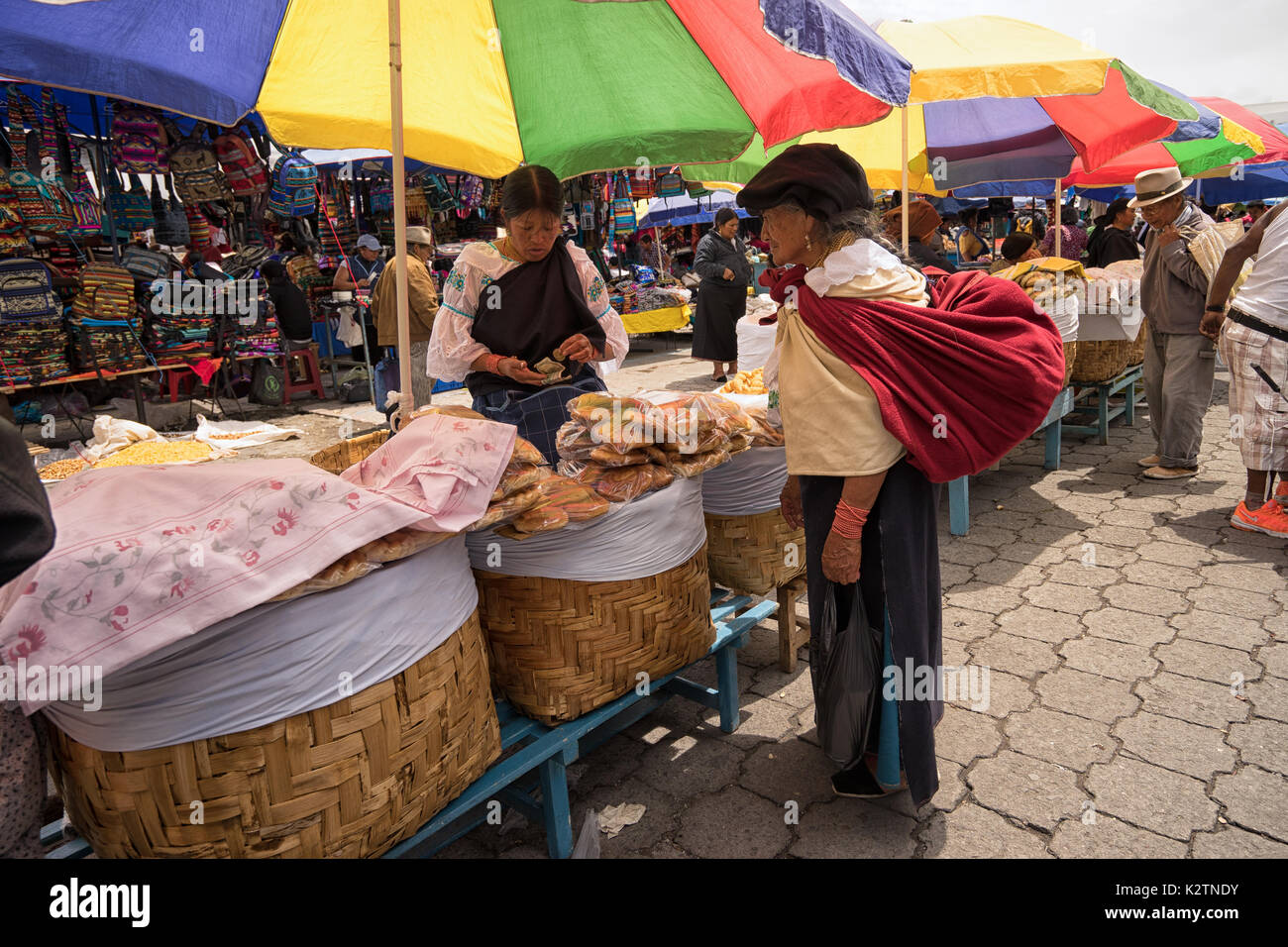 May 6, 2017 Otavalo, Ecuador: indigenous quechua women  in the Saturday market - Stock Image