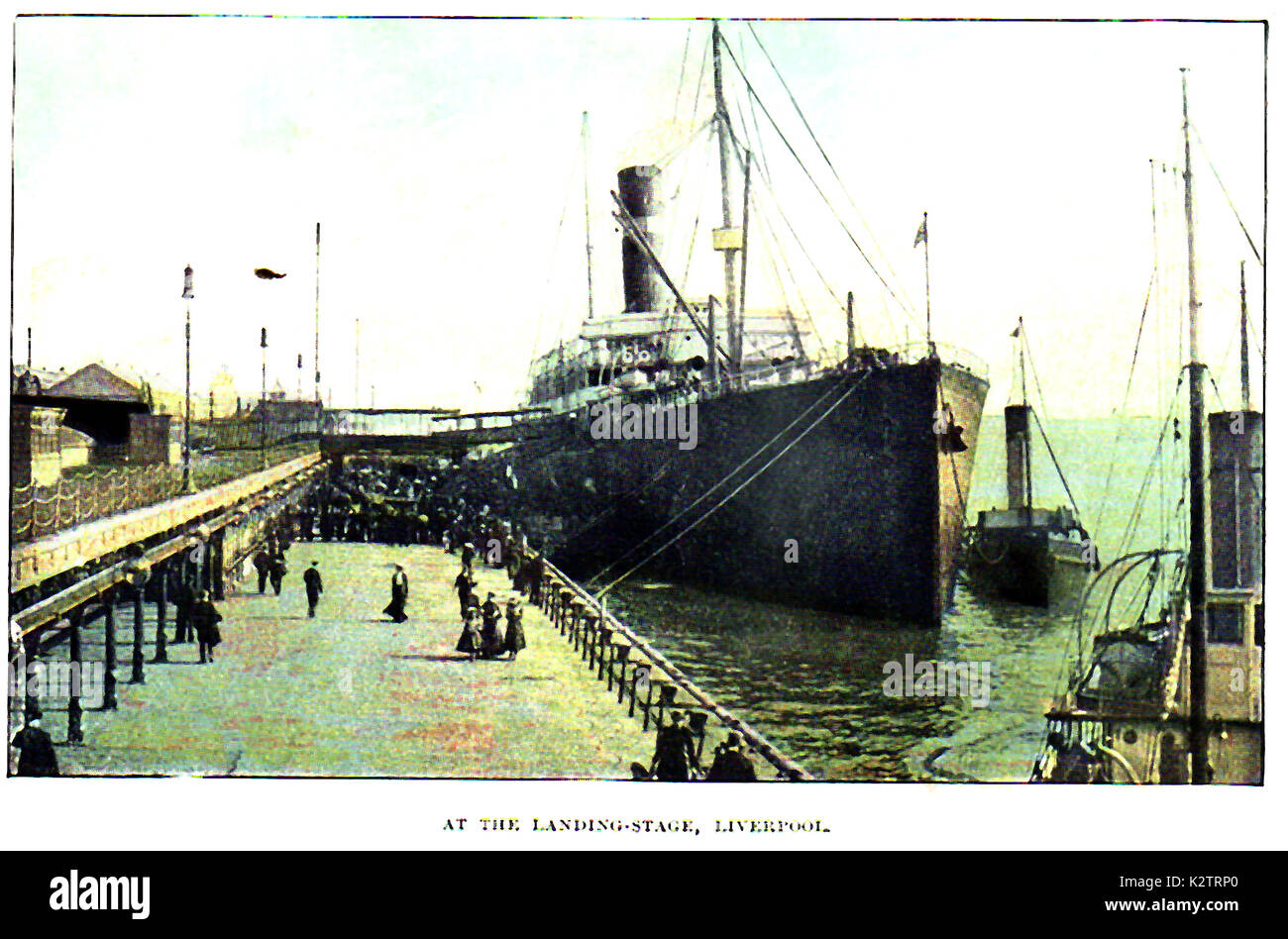 1925 - Steam passenger vessel and tugs at a Liverpool (UK) landing stage UK (engineer John James Webster) - Stock Image