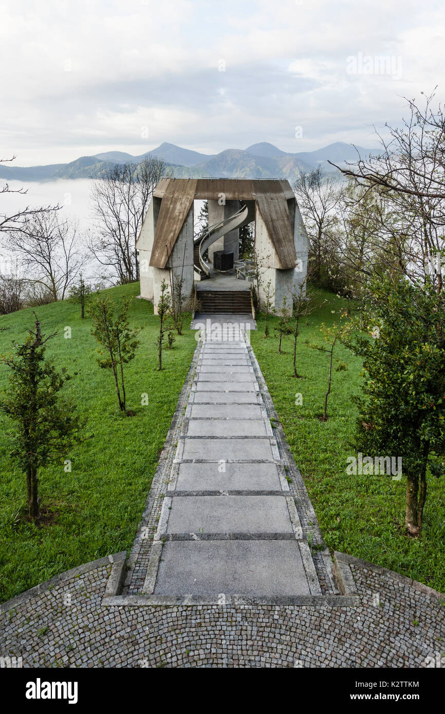 Partisan Monument in the village of Drazgose is one of the major Slovenian monuments of the second world war. - Stock Image