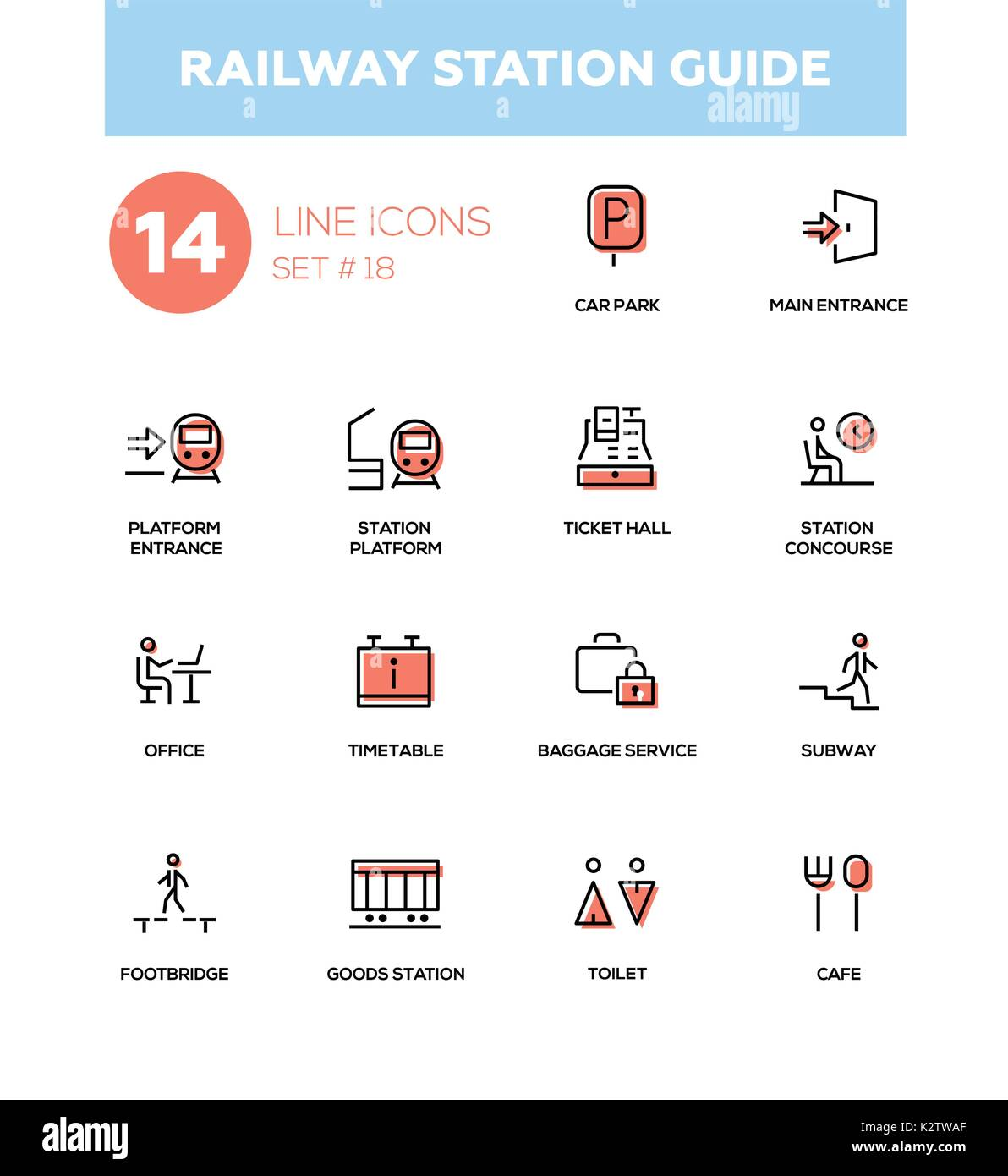 Railway station guide - modern simple icons, pictograms set Stock Vector
