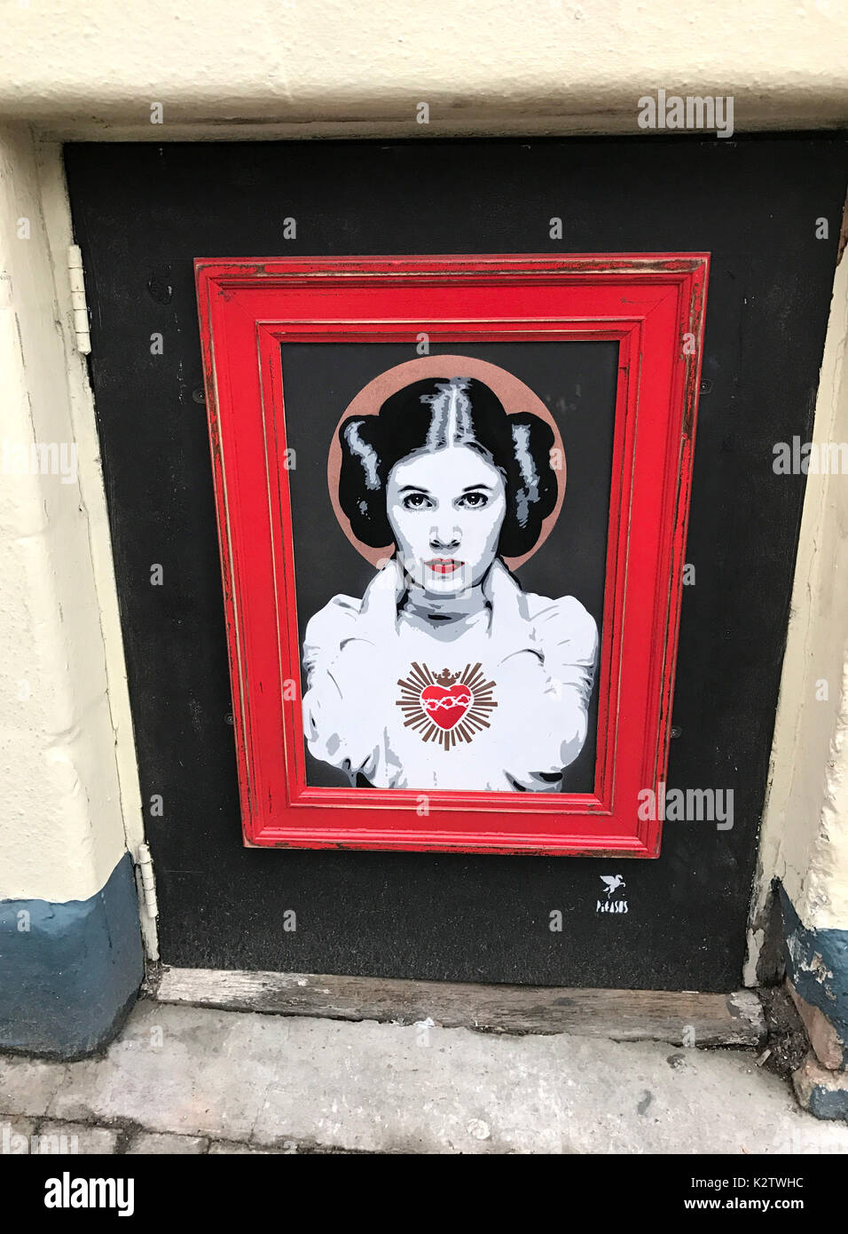 Photo Must Be Credited ©Alpha Press 066465 31/01/2017 Carrie Fisher street art by Pegasus in North London. - Stock Image