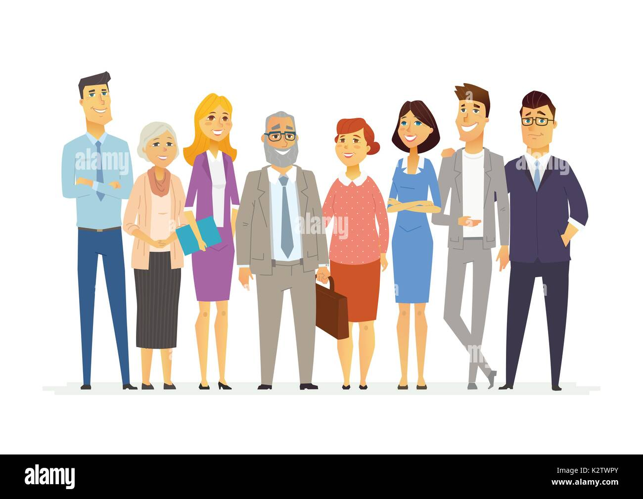 Office Team - modern vector business cartoon characters illustration - Stock Vector