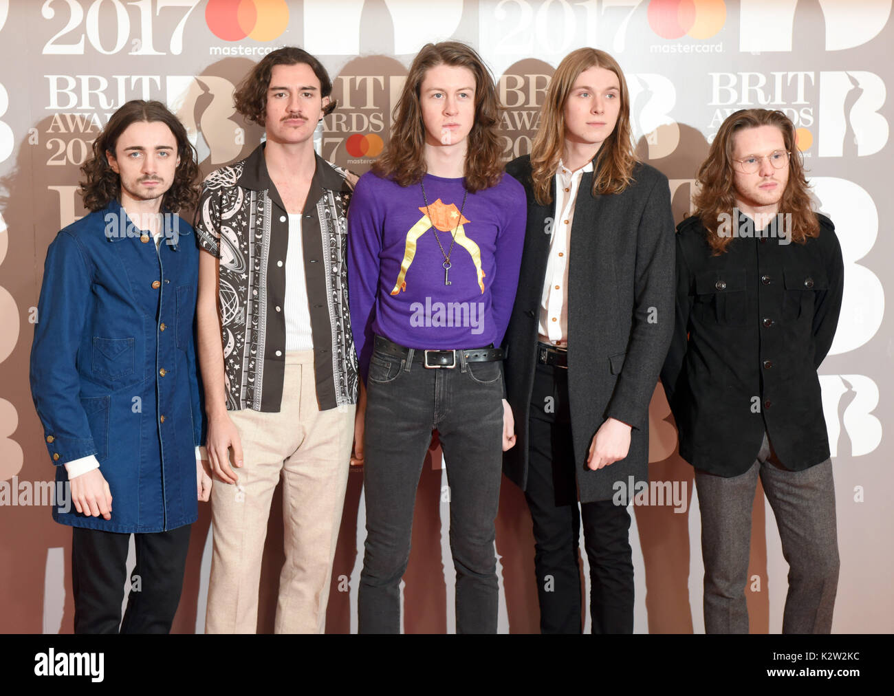 Photo Must Be Credited ©Alpha Press 079965 22/02/2077 Blossoms, Tom Ogden, Charlie Salt, Josh Dewhurst, Joe Donovan and Myles Kellock The Brit Awards 2017 At The O2 Arena London - Stock Image