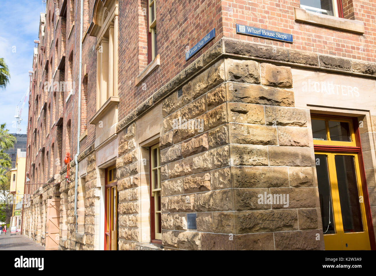 Historical architecture in The Rocks area of Sydney city centre,New South Wales,Australia - Stock Image
