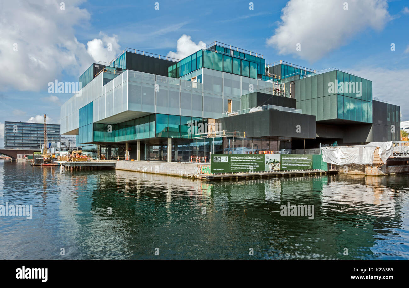 Progress in building BLOX Hub centre for  architecture design and town planning companies at Christians Brygge in the harbour of Copenhagen Denmark - Stock Image
