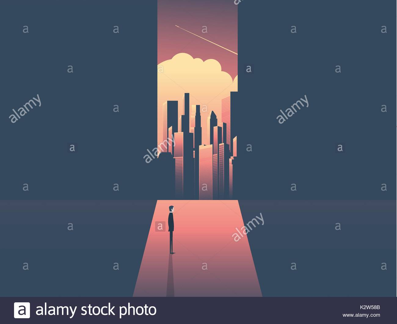 Businessman looking through window at urban skyline. Business ambition, opportunity and corporate world concept vector illustration with cityscape in sunset. - Stock Vector
