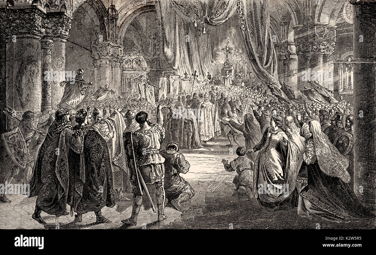Pope Saint Leo III crowning Charlemagne Imperator Romanorum, on Christmas Evening 800 - Stock Image