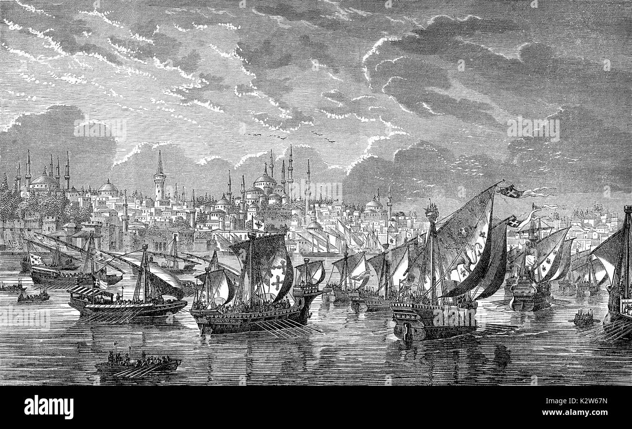 The fleet of the crusaders in front of Constantinople during the Fourth Crusade in 1203, Riva river, Turkey - Stock Image