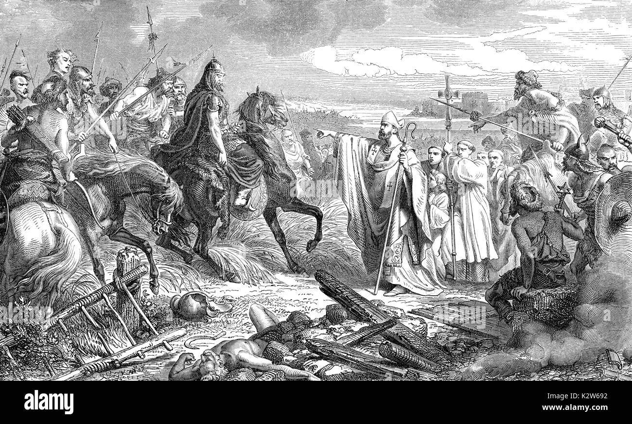 Saint Lupus, bishop of Troyes, saving Troyes from the Huns under Attila, in 451 - Stock Image