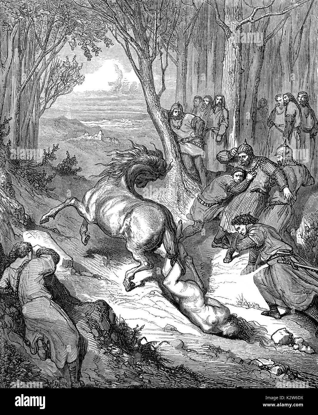 The murder of Brunhilda, c. 543–613, a Queen of Austrasia - Stock Image
