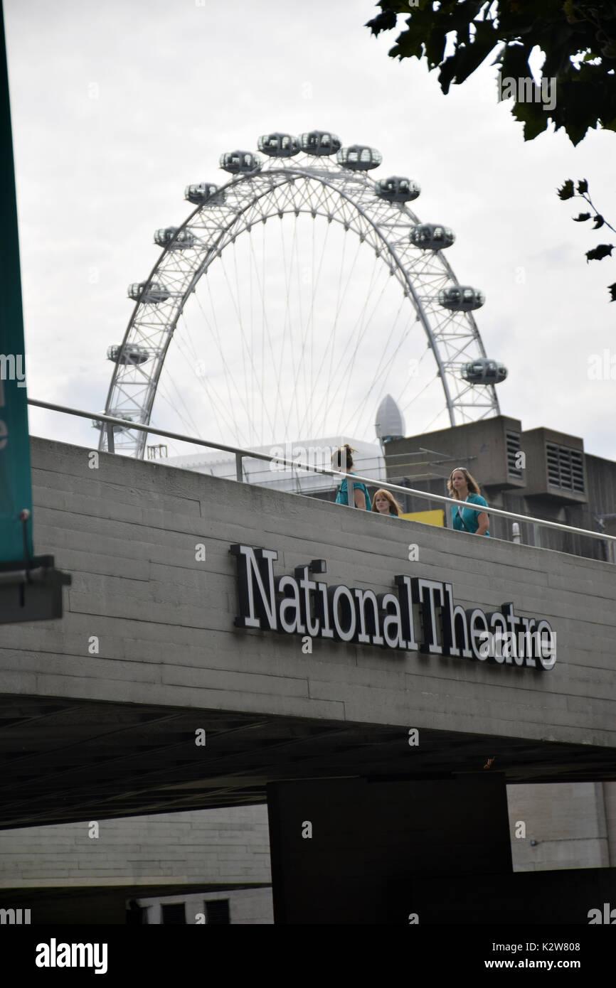 National Theatre & London Eye, London UK - Stock Image