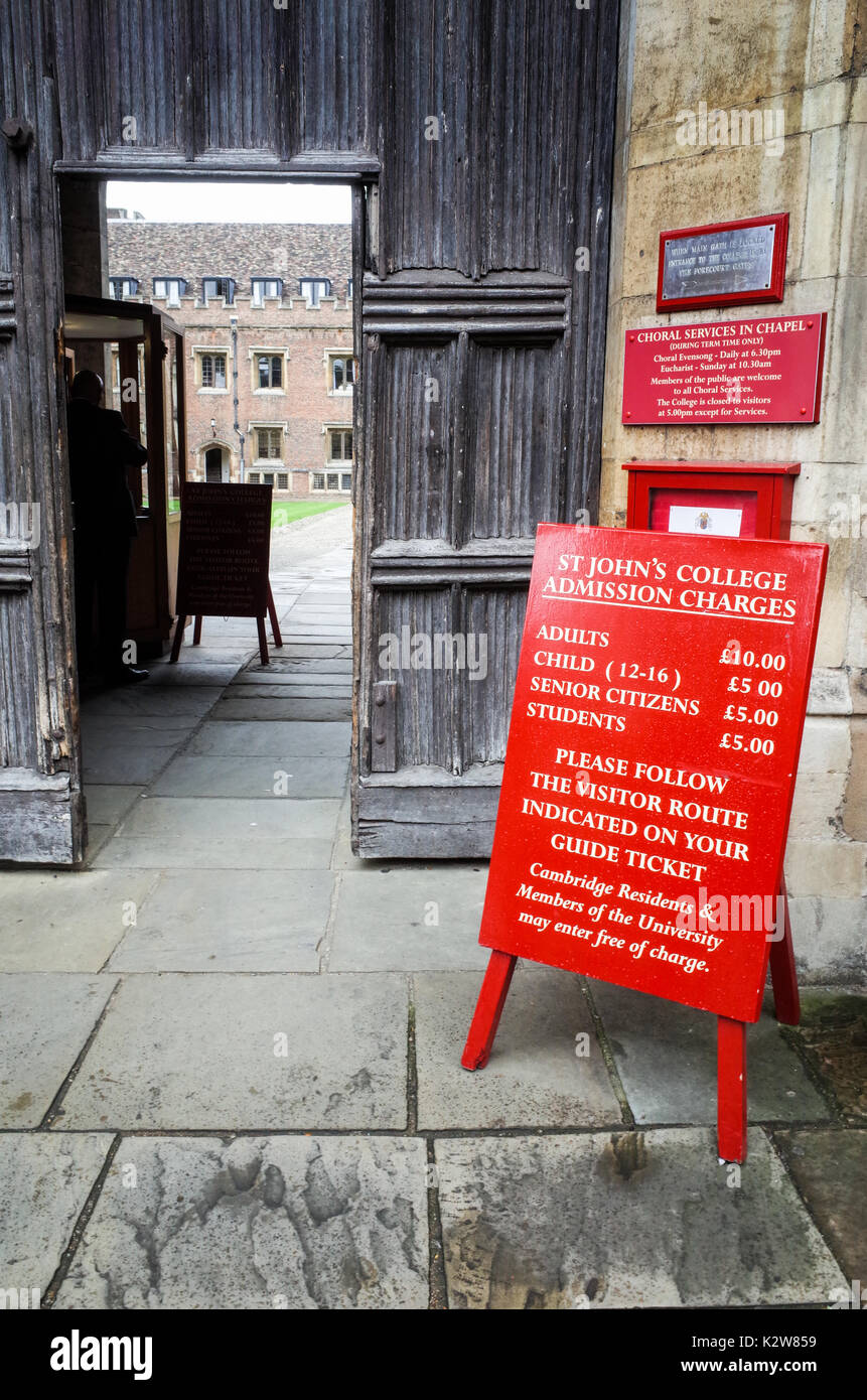Cambridge Tourism - entrance to St John's College, part of the University of Cambridge, showing admission prices - Stock Image