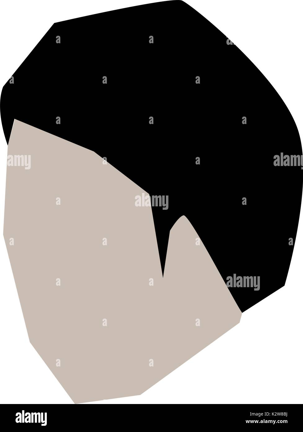 Man Head Faceless With Short Hairstyle In White Background Stock