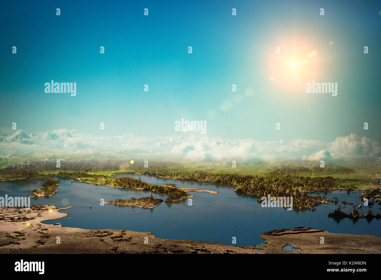 Europe mediterranean 3d rendering planet - Stock Image