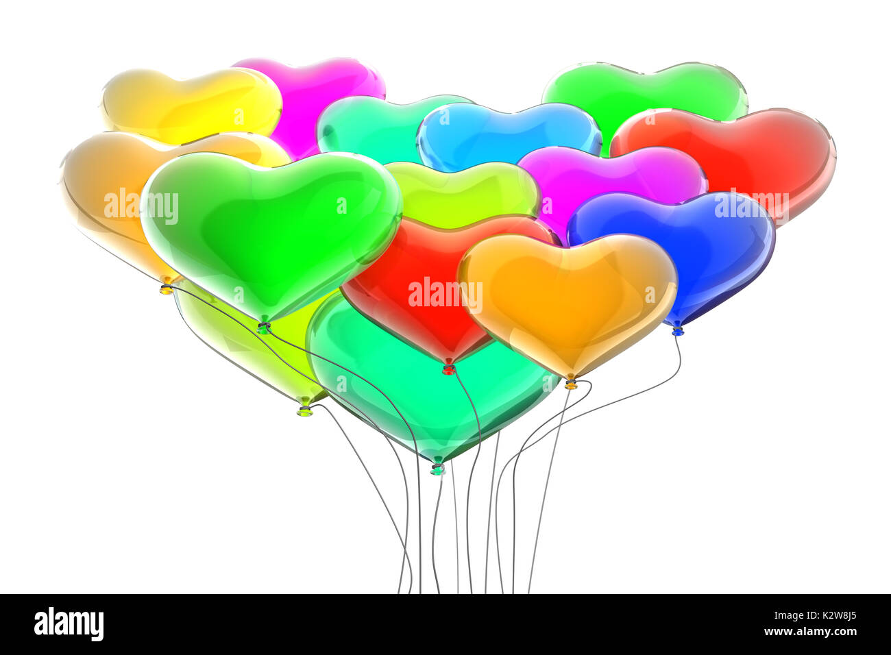 Rainbow colors balloons 3d rendering - Stock Image