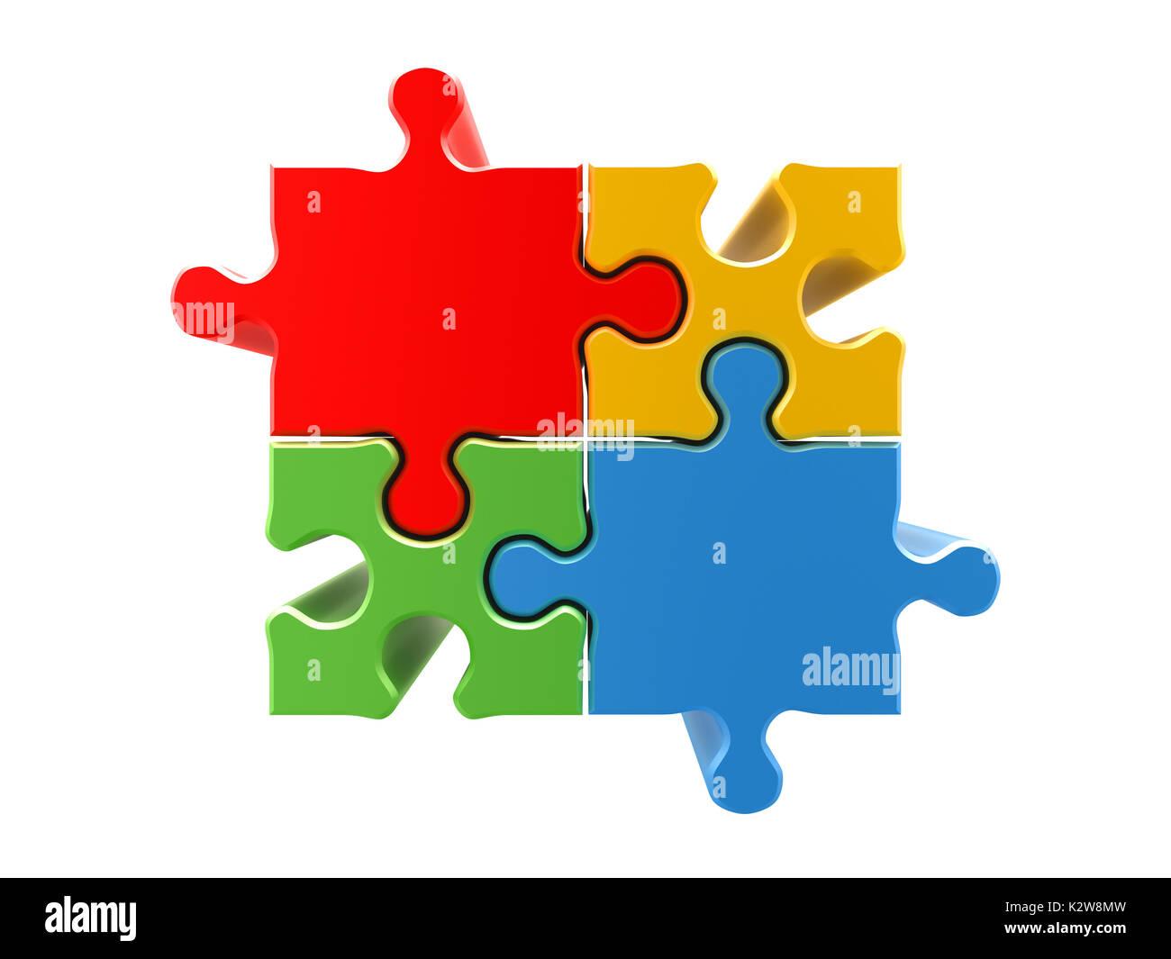 4 colors puzzle concept 3d rendering - Stock Image