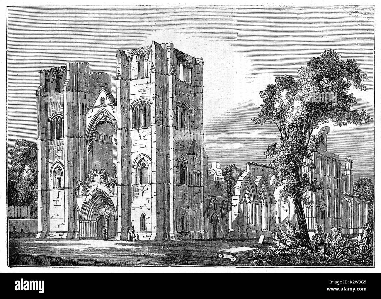 Old view of Elgin cathedral, Scotland. By unidentified author, published on Penny Magazine, London, 1835 - Stock Image