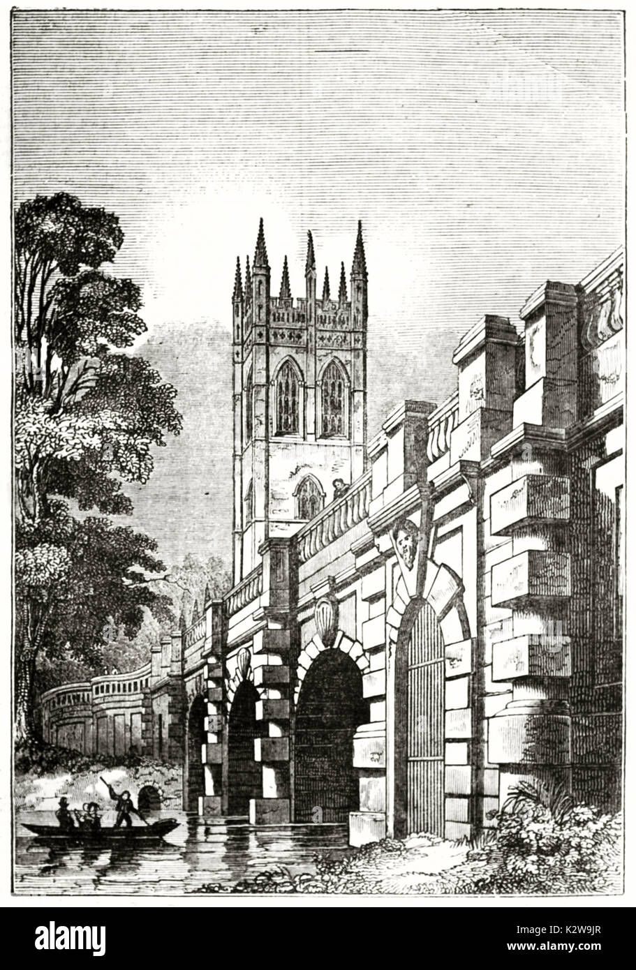 Old view of Magdalen Bridge and the tower of magdalen College in background, Oxford, England. After Delamotte, published on the Penny Magazine, London - Stock Image