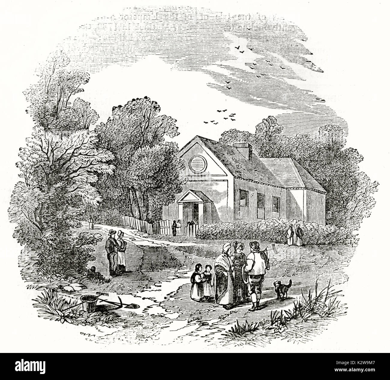Old view of Gilpin's school at Boldre, Hampshire, England. By unidentified author, published on Penny Magazine, London, 1835 - Stock Image