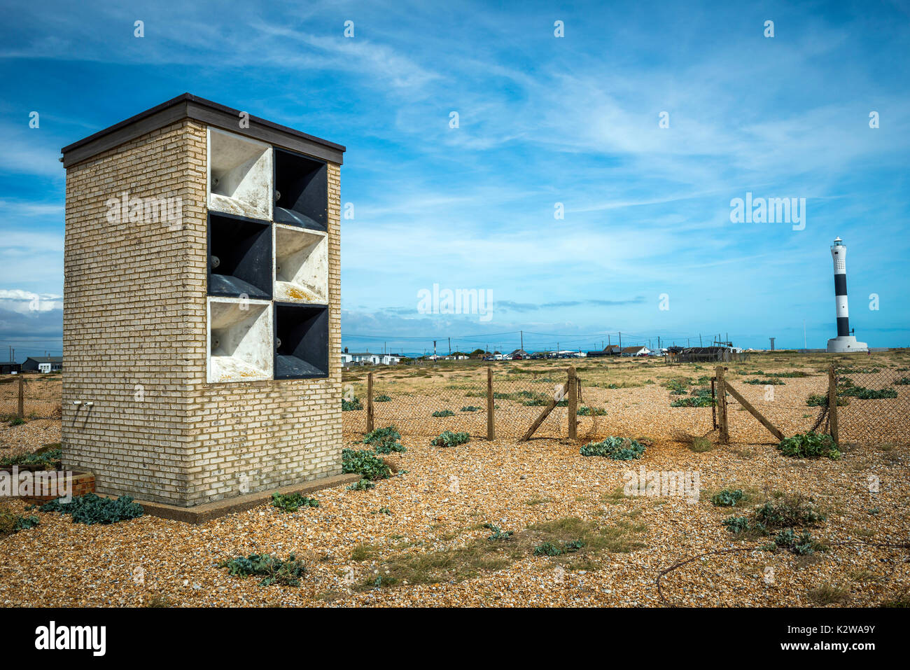 Fog horn building on the headland of Dungeness, Kent, UK - Stock Image