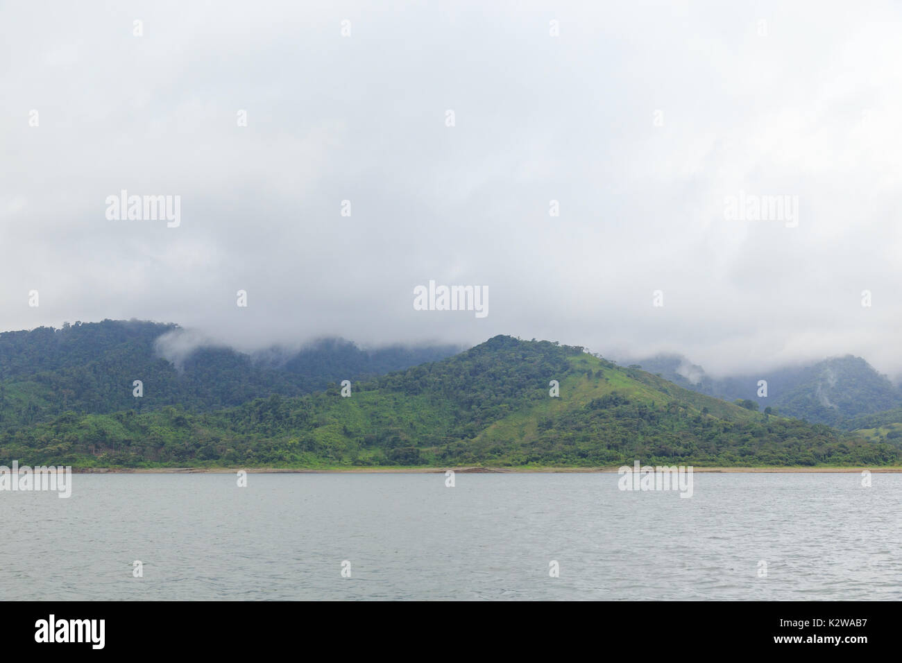 Hills and forest at lake arenal Costa Rica - Stock Image