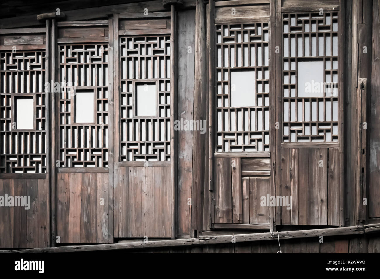 A Row Of Old Wooden Chinese Doors   Stock Image