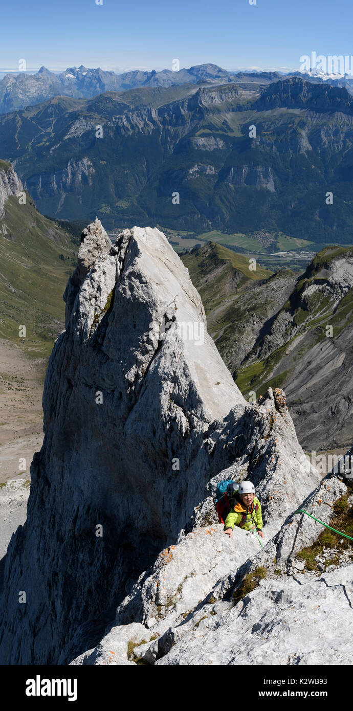 Climbers on the Arete du Doigt on Pointe Percee in the Aravis Stock Photo