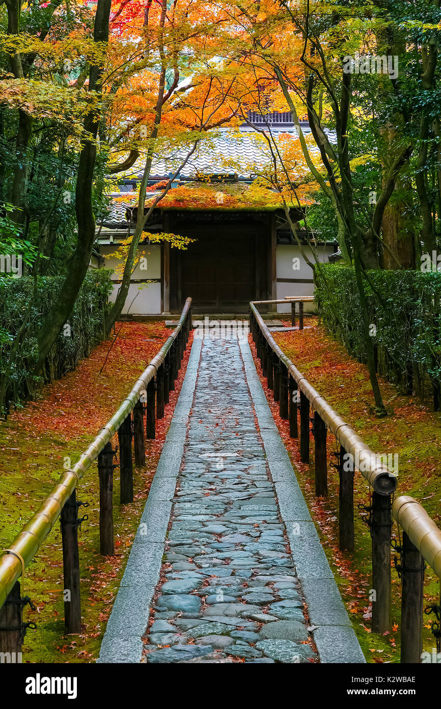 Autumn at Koto-in a Sub Temple of Daitokuji Temple in Kyoto, Japan  KYOTO, JAPAN - NOVEMBER 23 2015: Koto-in Temple is one of Daitokuji sub temples, f - Stock Image