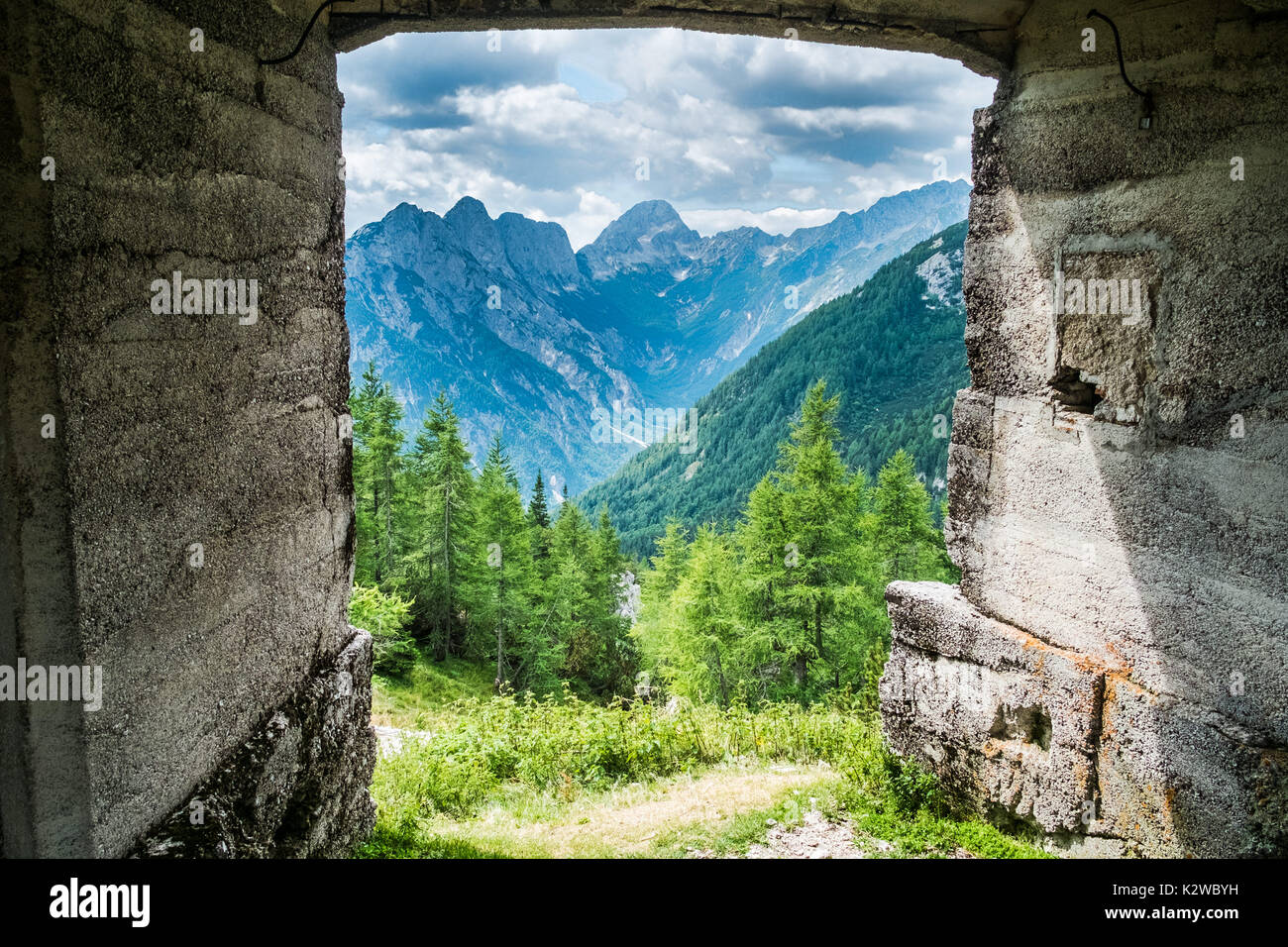 Bunker from first world war on the top of a highest mountain pass Vrsic in Slovenia Stock Photo